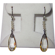 Vintage Silver Citrine Pearls Drop Earrings