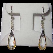 Vintage Silver Citrine Pearls Drop Earrings