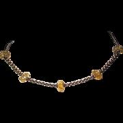 Vintage Sterling Carved Citrine Necklace Hallmarked