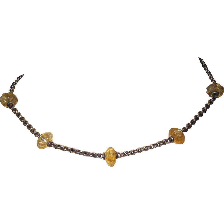 Vintage Sterling Carved Citrine Necklace Hallmarked