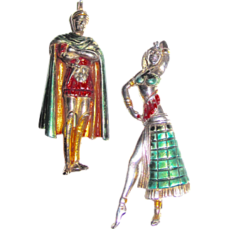 Cleopatra and Marc Antony Figural Sterling Metallic Enamel Brooches Pair