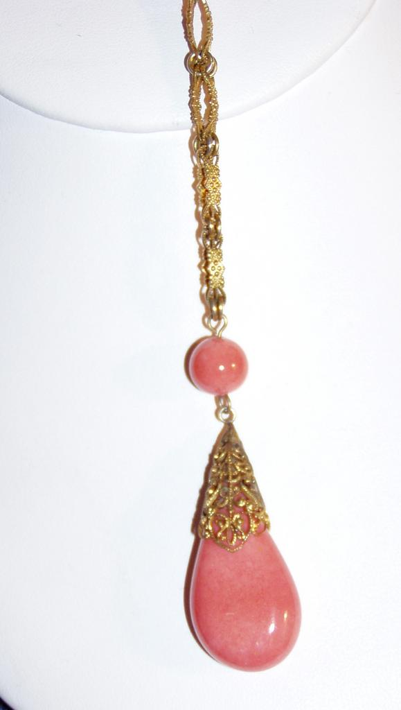 Vintage Art Glass Coral Pendant Necklace