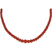 Victorian Graduated Salmon Coral Beads Necklace
