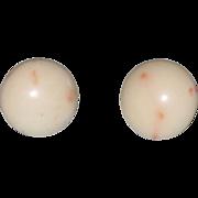 Vintage Mediterranean Angel Skin Coral Earrings 14K