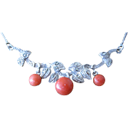 Beautiful Silver Coral Marcasite Necklace Leaf Motif