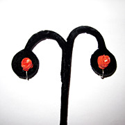 Vintage Carved Coral Roses Earrings