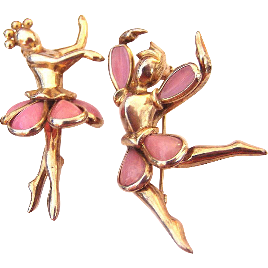 Trifari Male and Female Ballet Dancers Glass