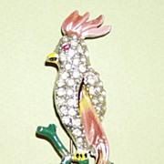 Bird of Paradise Pin Large Enamel Pastel Colors