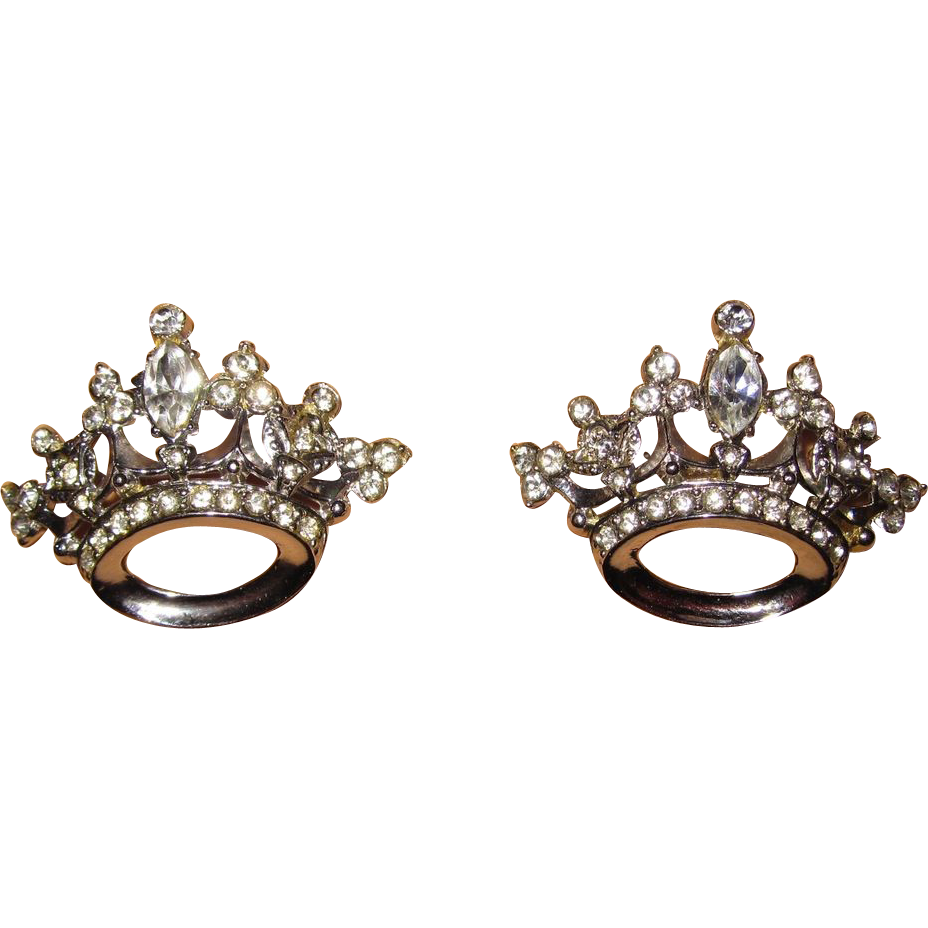 Pair Coro Rhinestone Crown Brooches
