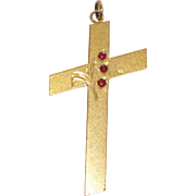 Vintage Large Garnet Cross Gold Filled