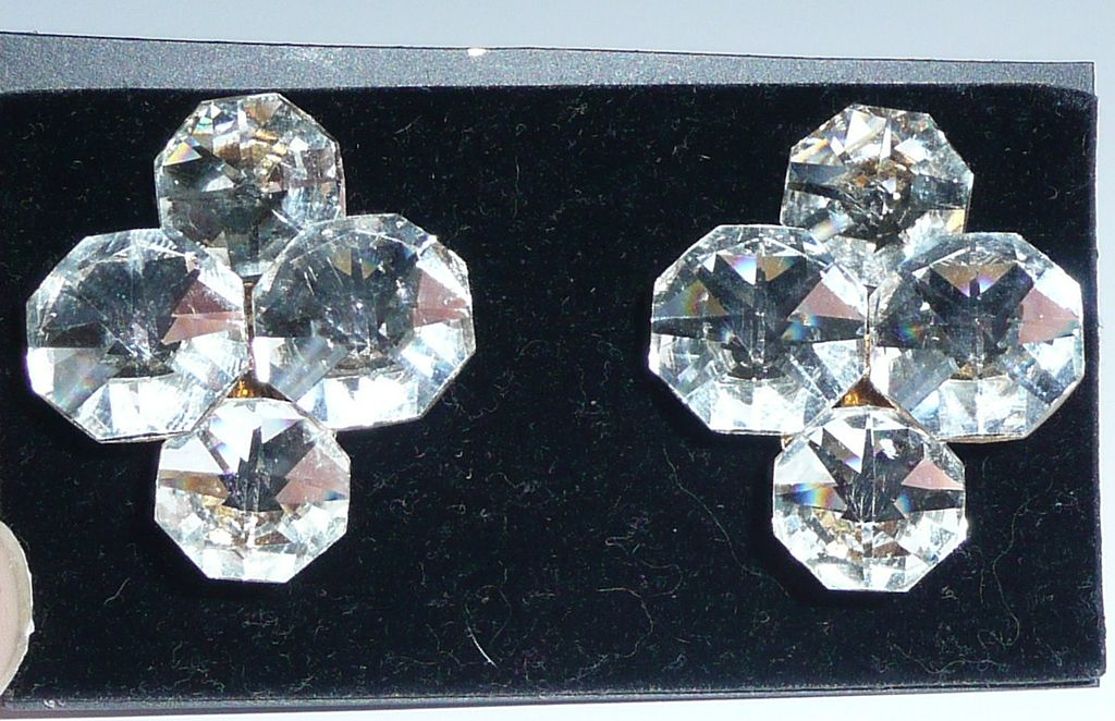 Vintage Crystal Clip Earrings Large