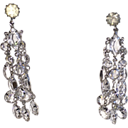 Vintage Clip On Earrings Crystal Chandelier