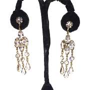 Vintage Crystal Chandelier Clip Earrings Gold Tone