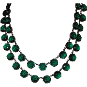 Vintage Green Crystal Double Strand Necklace