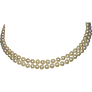Ladies Double Strand Cultured Pearl Necklace with 14K Emerald Clasp