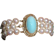 14K Gold Turquoise Triple Strand Cultured Pearls Bracelet