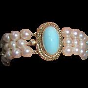 14K Gold Turquoise Triple Strand Cultured Pearls Bracelet