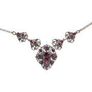Vintage Czech Filigree Purple Rhinestone Necklace