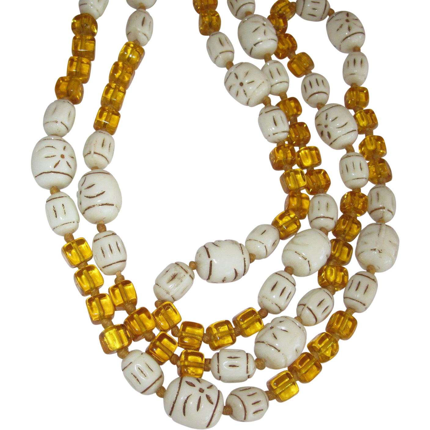 Czech Pressed Glass Beads Necklace 40 Inches Long