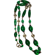 Art Deco Czech Green Glass Beads