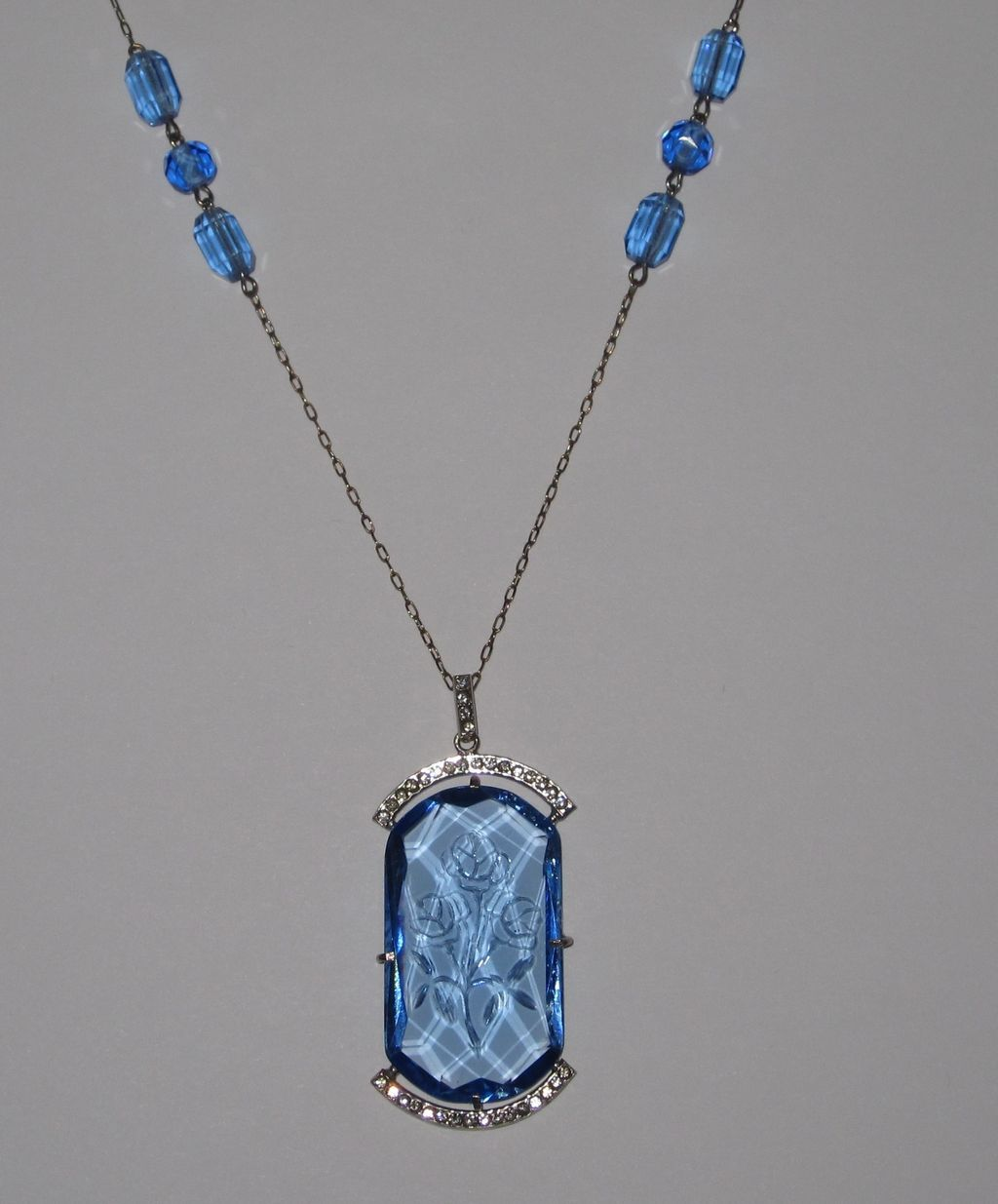 Long Czech Blue Glass Sautoir