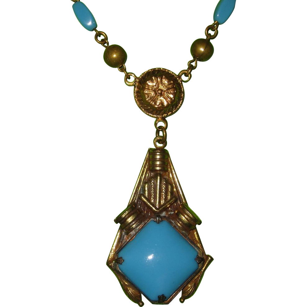 Vintage Czech Turquoise Glass Pendant Necklace