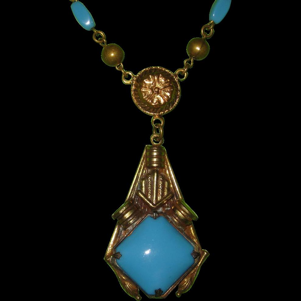 Vintage Czech Turquoise Glass Pendant Necklace