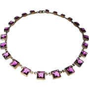 Czechoslovakia Crystal Choker Open Back Purple Squares