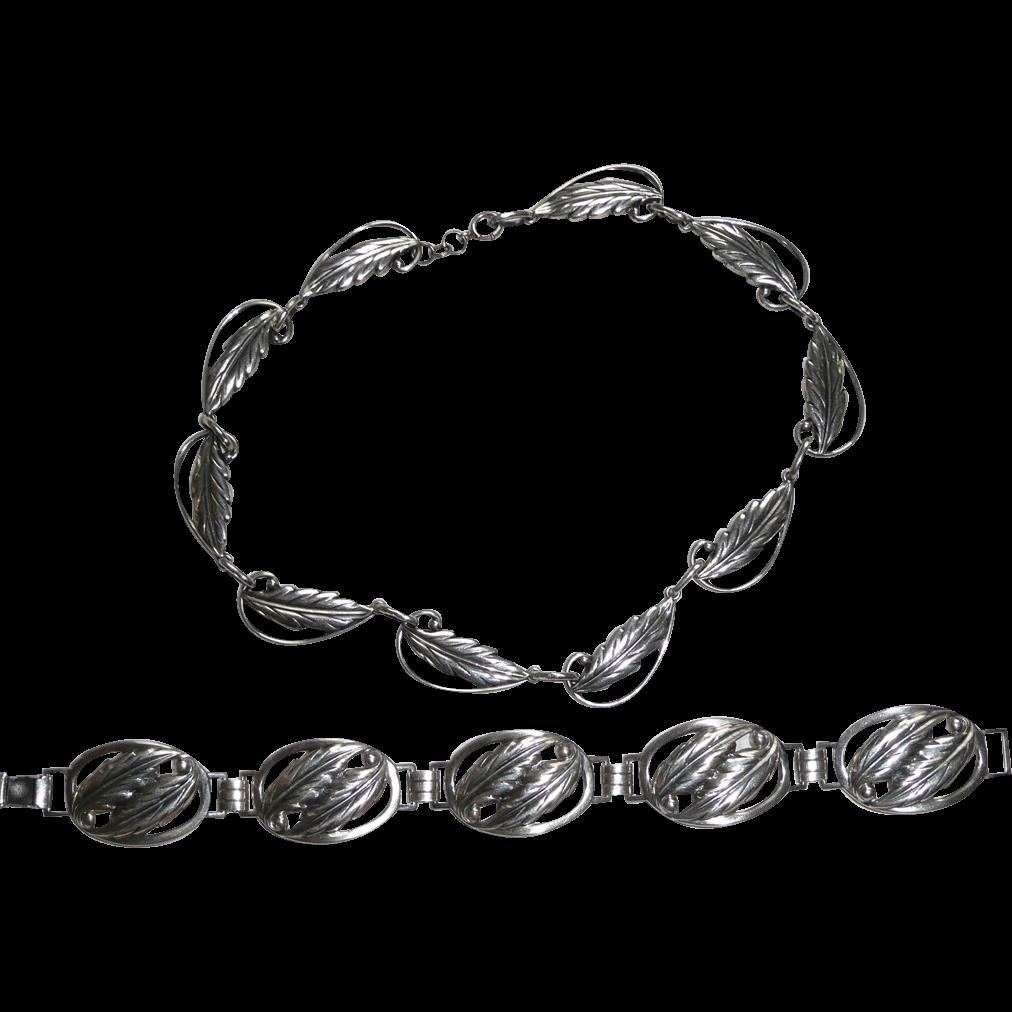Vintage Sterling Danecraft Leaves Set Necklace and Bracelet