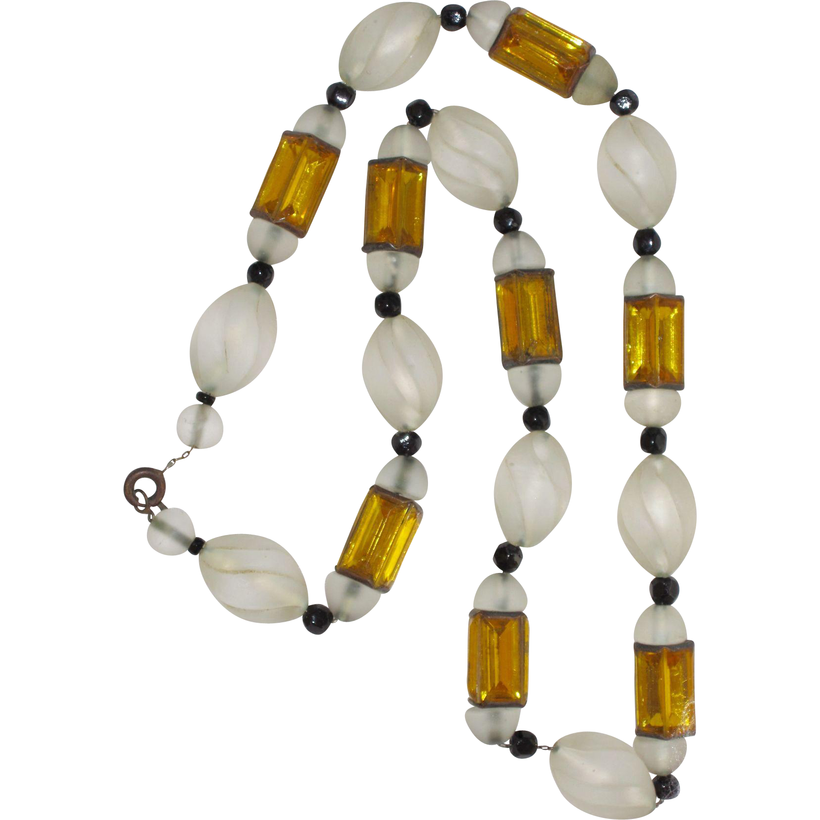 Art Deco Glass and Rhinestone Beads Necklace