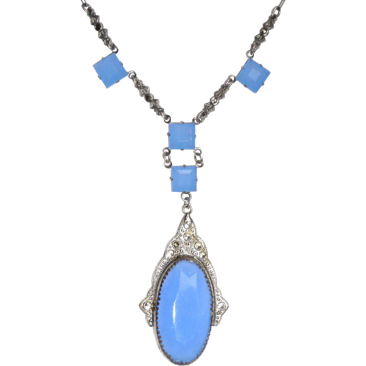 Art Deco Blue Glass Necklace with Marcasites