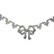 Art Deco Rhinestone Paste Bow Ribbon Necklace