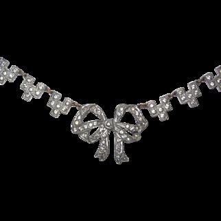 Art Deco Rhinestone Paste Bow Ribbon Necklace