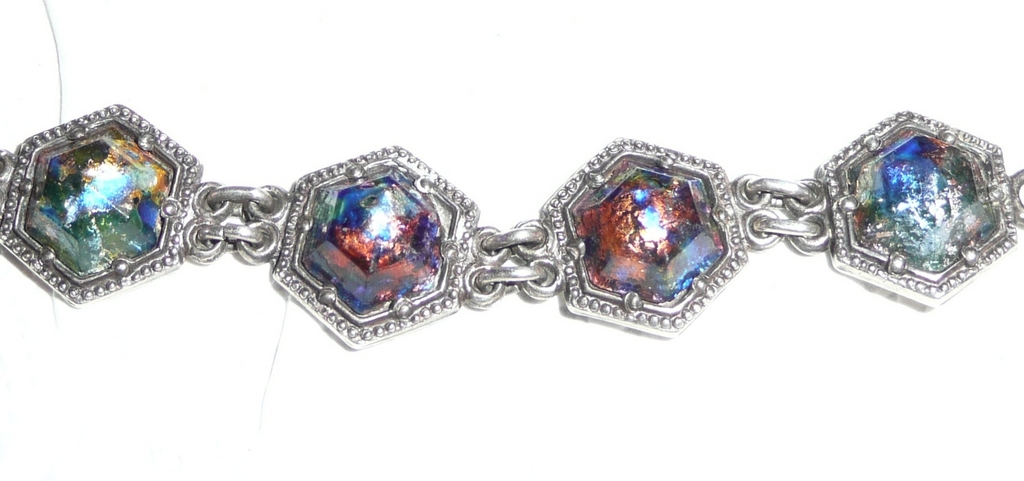 Incredible Sterling Art Glass Bracelet