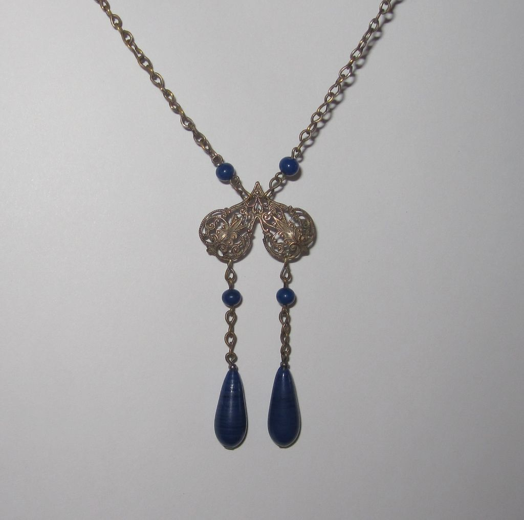 Art Deco Filigree Lapis Blue Glass Pendant