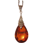 Art Deco Glass Amber Crystal Pendant Filigree