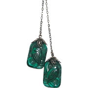 Beautiful Art Deco Green Art Glass Lariat Lavalier Pendant Necklace