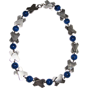 Art Deco Geometric Lapis Glass Necklace