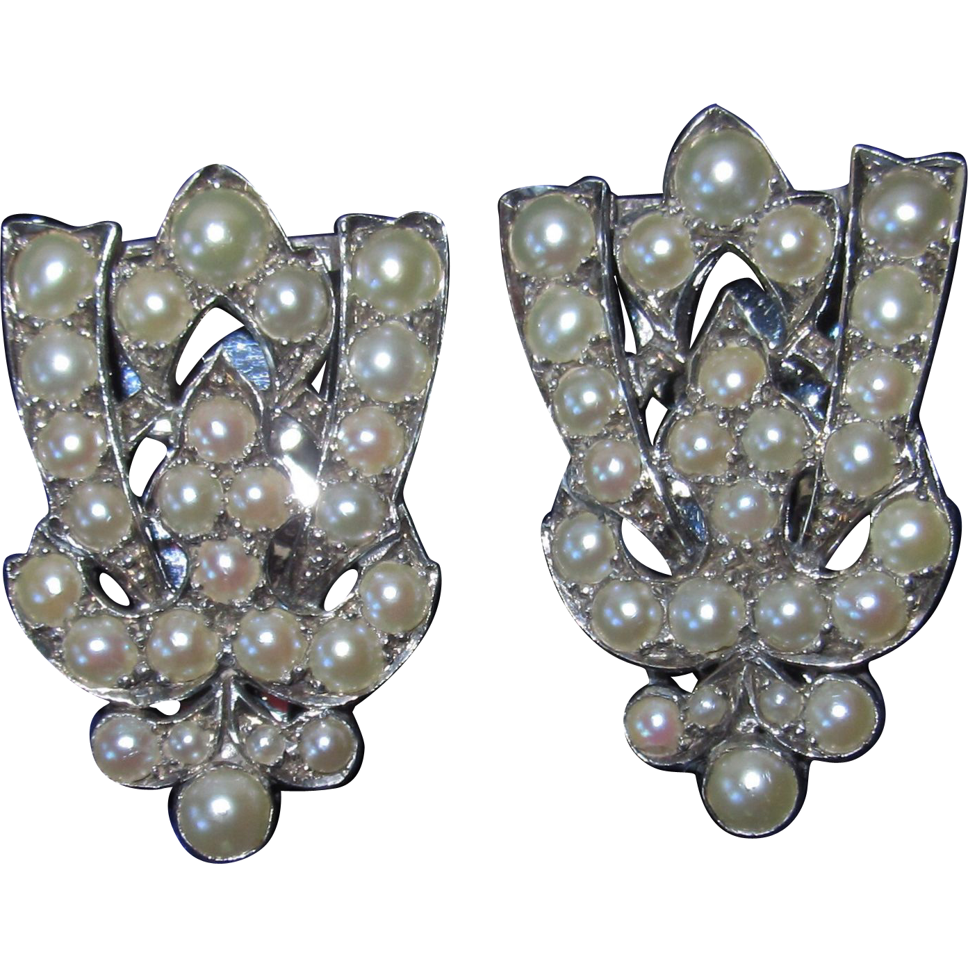 10K White Gold Art Deco Split Pearls Dress Clips Pair