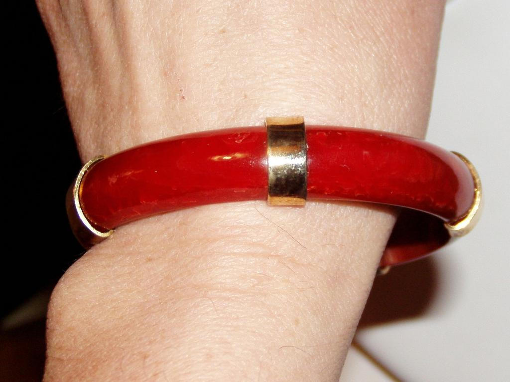 Art Deco Red Bakelite Bangle Bracelet with Brass Accents