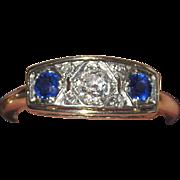 Art Deco 14K Diamond Sapphire Ring Estate