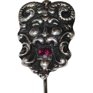 Art Nouveau Devil or Satyr Stick Pin Garnet