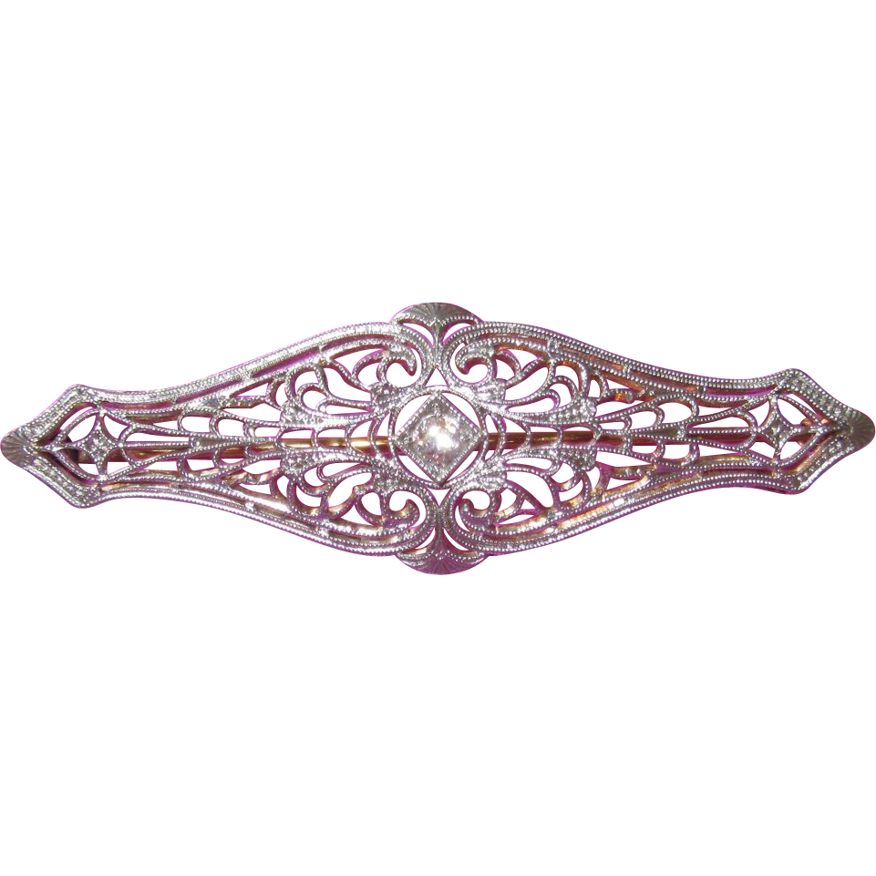 Excellent 14K Gold Filigree Diamond Brooch Pin