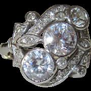 Platinum 14K Gold Diamonds and Cubic Zirconias Art Deco Ring