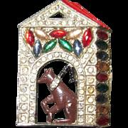 Vintage Doghouse Brooch Enamel