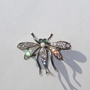 Vintage Sterling Paste Dragonfly Or Bug Pin