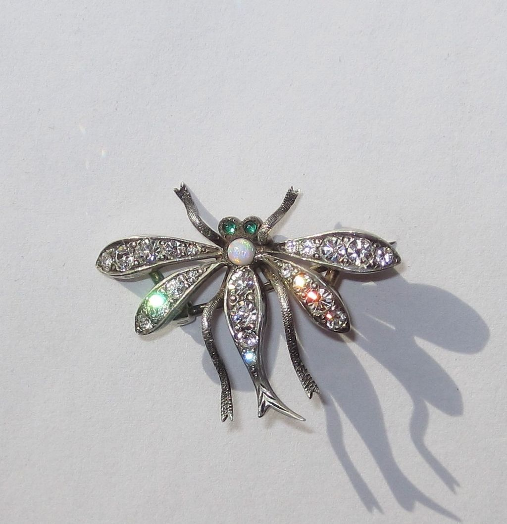 Vintage Sterling Paste Dragonfly Or Bug Pin