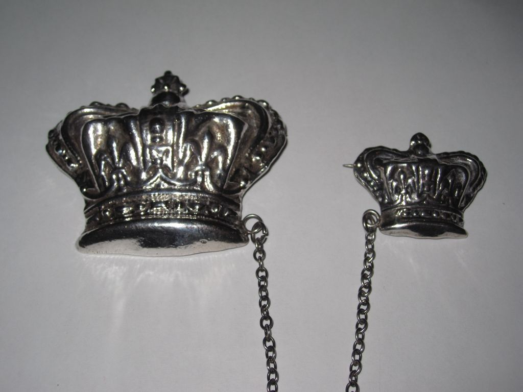 Large Sterling Crown Pins Chatelaine Brooches