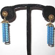 Vintage Earrings Blue Beaded