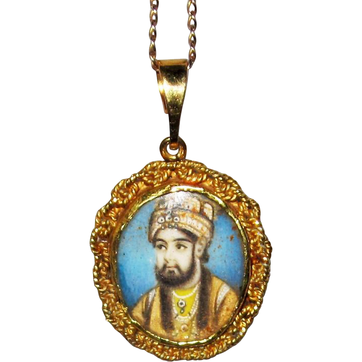 Painted Portrait Miniature Royal Mugal